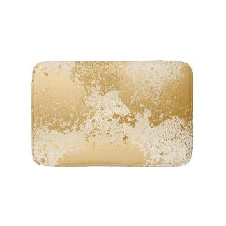 Beige and Gold Paint Splatter Bath Mat
