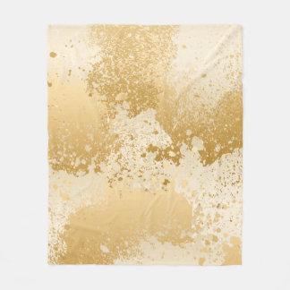 Beige and Gold Paint Splatter Fleece Blanket