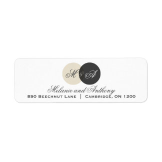 Beige and Gray Entwined Monogram Address Label