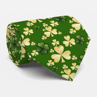 Beige and green clover tie