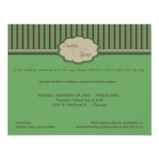 Beige And Green Stripes Couples Shower Invite