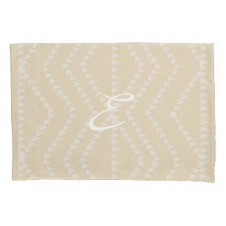 Beige And Lavender Pattern  Monogram Pillow Case