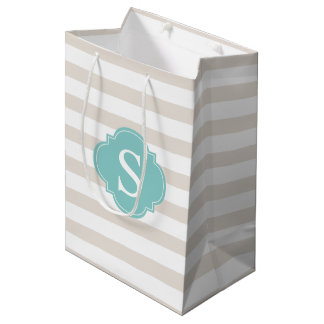Beige and Mint Stripes Pattern and Monogram Medium Gift Bag