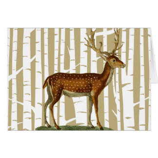 Beige and White Birch Tree Forest Greeting Card