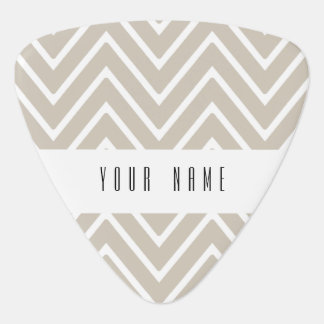Beige and White Chevron Pattern 2 Guitar Pick