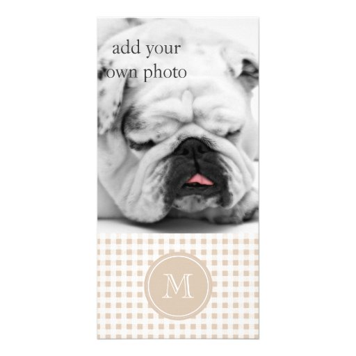 Beige and White Gingham, Your Monogram Photo Greeting Card