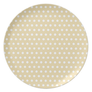 Beige and White Polka Dot Pattern. Spotty. Party Plate