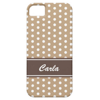 Beige and white polka dots iPhone 5 case