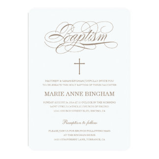 Beige Baptism Invitation | Christening Invitation