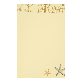 Beige Beach Themed Starfish Stationary Paper Personalized Stationery