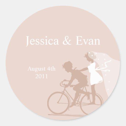 Beige Bicycle Couple Wedding Sticker