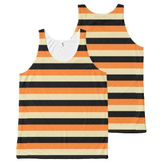 Beige, Black and Orange Stripes All-Over Print Singlet
