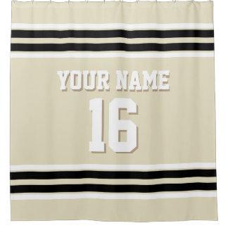 Beige Black White Stripes Sports Jersey Shower Curtain