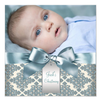 Beige Blue Damask Baby Boy Photo Christening 13 Cm X 13 Cm Square Invitation Card