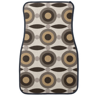Beige, brown and sand coloured circles and dots car mat
