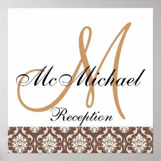 Beige Brown Damask  Monogram Wedding Reception Poster