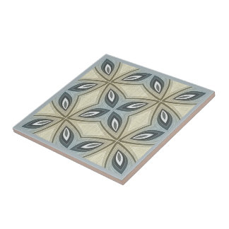 Beige Brown Gray Blue Batik Floral Star Pattern Ceramic Tile