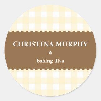 Beige brown white gingham homemade food label seal round sticker