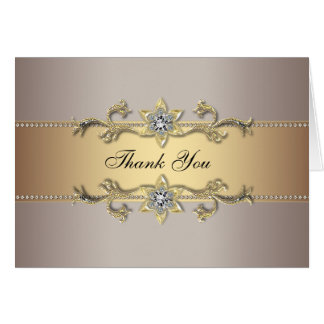 Beige Champagne Gold Thank You Cards Note Card