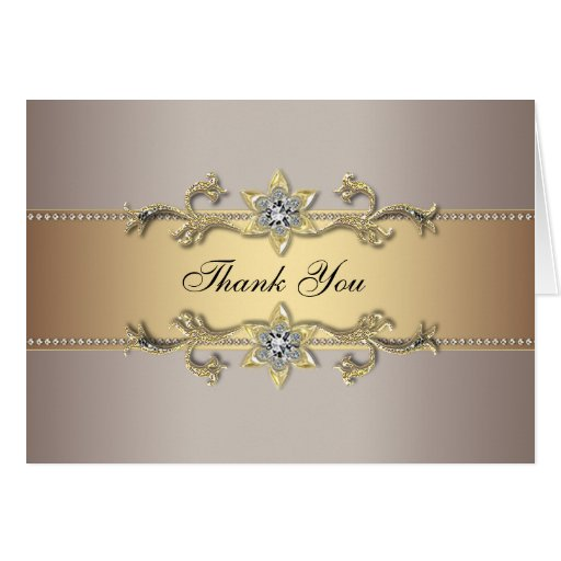 Beige Champagne Gold Thank You Cards