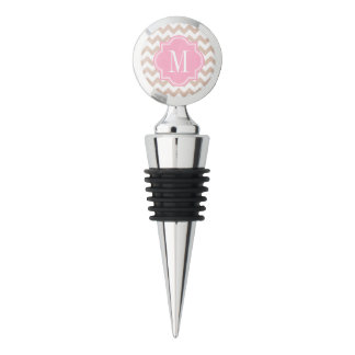 Beige Chevron with Pink Monogram Wine Stopper