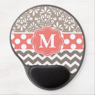 Beige Coral Chevron Monogram Mousepad