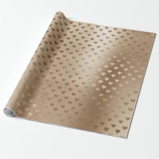 Beige Creamy Gold Hearts Metallic Confetti Wrapping Paper