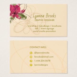 Beige Crimson Floral  Business Card
