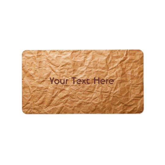 Beige Crumpled Paper Address Label