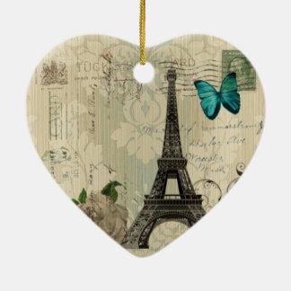 beige Damask butterfly rose Paris Eiffel Tower Ceramic Ornament