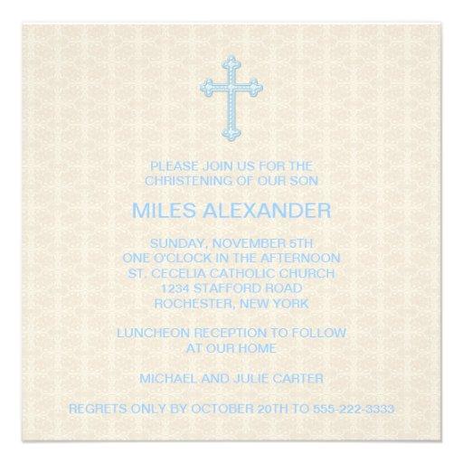 Beige Damask Cross Blue Boy Christening Personalized Invites