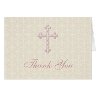Beige Damask Pink Cross Thank You Card