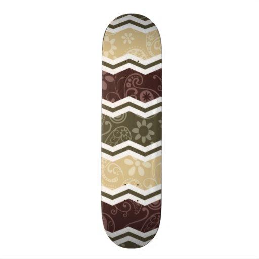 Beige, Dark Brown, and Olive Green Paisley Skateboard Deck