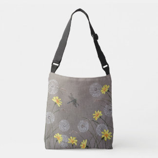 Beige Dragonfly and wild flowers design bag