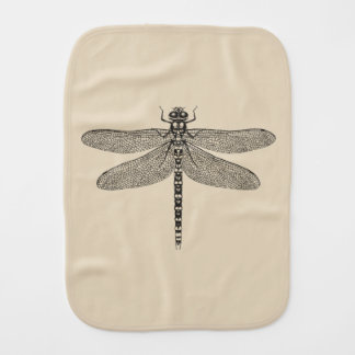 Beige Dragonfly Burp Cloth