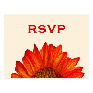 Beige Fall Wedding RSVP Postcard Sunflower