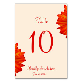 Beige Fall Wedding Table Cards Sunflower