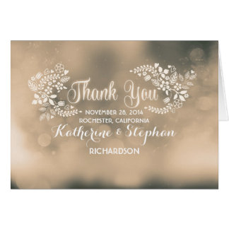 beige fancy floral hearts wedding thank you card