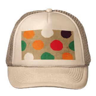Beige faux suede  & colorful big polka dots fun trucker hat
