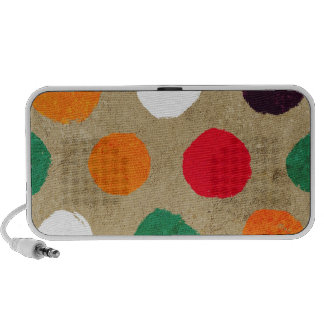 Beige faux suede  & colorful big polka dots fun mp3 speakers
