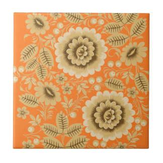 Beige Floral Small Square Tile