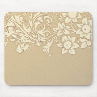 beige floral vintage mouse pad