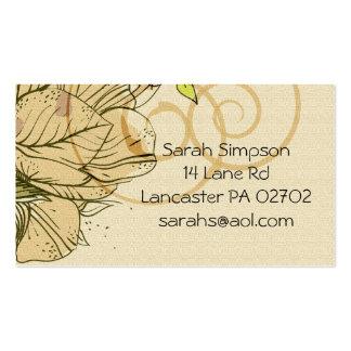 beige  flower  business cards