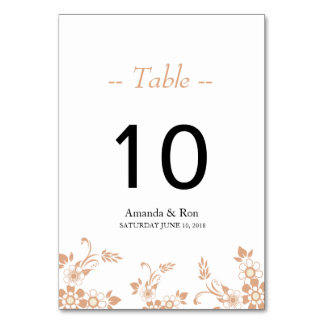 Beige Flower Design Table Card Number