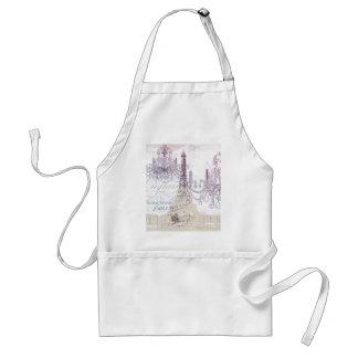 beige french scripts chandelier paris eiffel tower standard apron