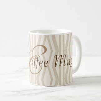 Beige Geometric Pattern Monogram Good Coffee Mug