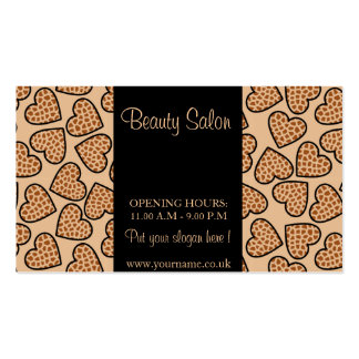 Beige giraffe print hearts pack of standard business cards