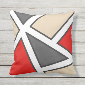 Beige Gray Red Black White Geometric Cushion