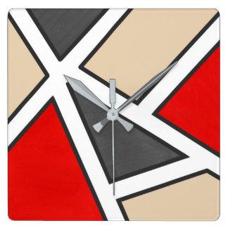 Beige Gray Red Black White Geometric Square Wall Clock