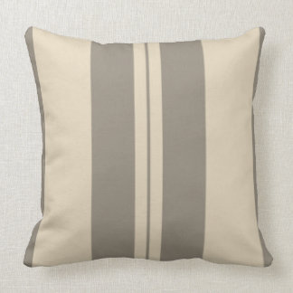 Beige-&-Gray Stripes  Polyester Throw Pillow